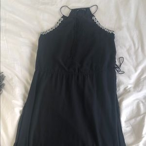 Navy maxi dress with black and white beading